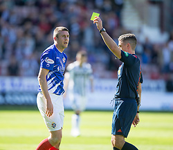 Cowdenbeath's manager Colin Nish booked by ref Greg Allan. <br /> Dunfermline 7 v 1 Cowdenbeath, SPFL Ladbrokes League Division One game played 15/8/2015 at East End Park.