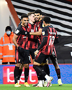 Goal 1-0 - Junior Stanislas (19) of AFC Bournemouth celebrates scoring his opening goal during the EFL Sky Bet Championship match between Bournemouth and Nottingham Forest at the Vitality Stadium, Bournemouth, England on 24 November 2020.