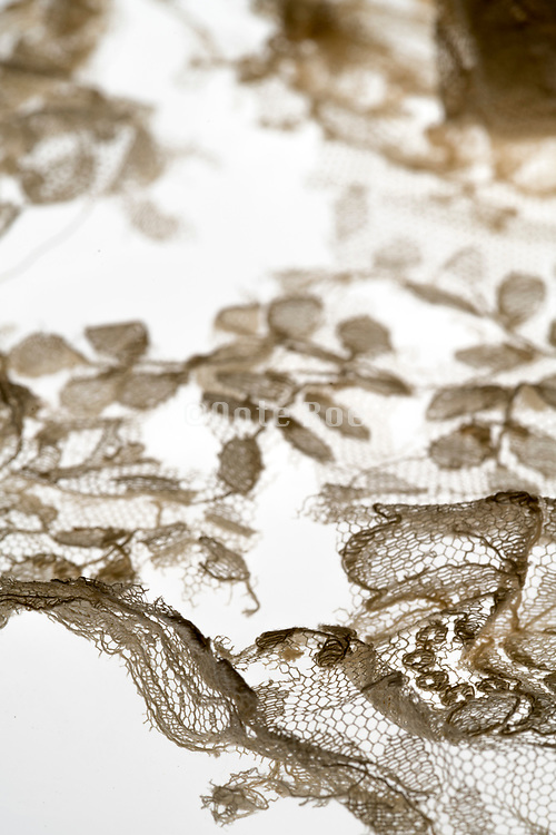 detail of torn lace embroidery