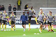 Brewers players warm up during the EFL Sky Bet League 1 match between Burton Albion and Sunderland at the Pirelli Stadium, Burton upon Trent, England on 15 September 2018.