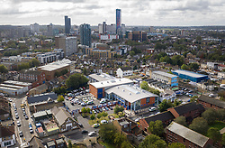 © Licensed to London News Pictures. 25/09/2020. Croydon, UK. An aerial view of Croydon Custody Centre (C) in South London, where a police officer was shot dead in the early hours of this morning. A murder investigation has been launched. Photo credit: Peter Macdiarmid/LNP