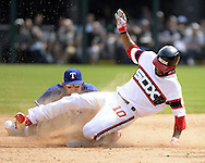 CHICAGO - APRIL 24:  Austin Jackson #10 of the Chicago White Sox slides safely into second base with a double in the fifth inning against the Texas Rangers on April 24, 2016 at U.S. Cellular Field in Chicago, Illinois.  The White Sox defeated the Rangers 4-1.  (Photo by Ron Vesely)   Subject: Austin Jackson