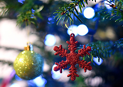 Decorations on a Christmas tree.