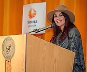 """Telenovela actress Dulce Maria comments during a Televisa Foundation """"Live the Dream"""" event at Burbank Middle School, December 9, 2013."""
