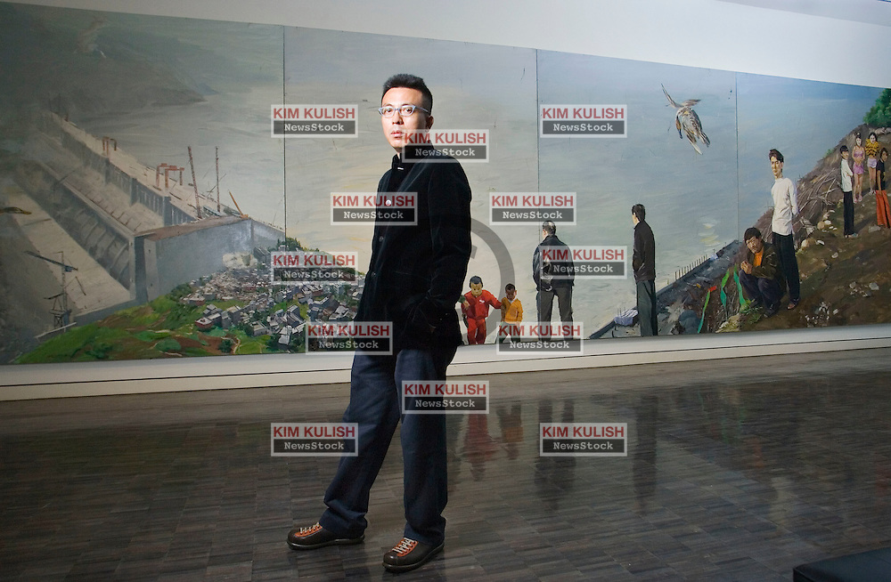 Artist Liu Xiaodong has created  9 foot by 300 foot paintings  about China's controversial Three Gorges Dam, now on display at the Asian Art Museum in San Francisco, CA. .Photo by Kim Kulish