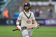 Wicket - Mark Stoneman of Surrey looks dejected as he walks back to the pavilion after being dismissed by Jamie Overton of Somerset during the opening day of the Specsavers County Champ Div 1 match between Somerset County Cricket Club and Surrey County Cricket Club at the Cooper Associates County Ground, Taunton, United Kingdom on 18 September 2018.