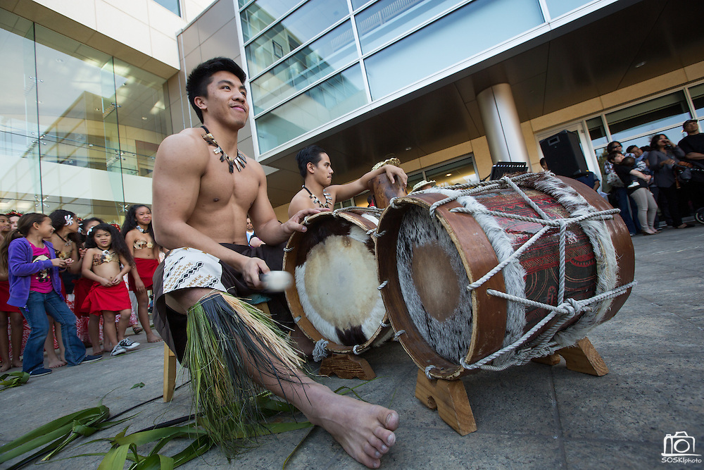 Kawailehua Hula Ohana perform to the beat of live drums during the City of Milpitas 60th Anniversary Family Day at Milpitas City Hall in Milpitas, California, on January 26, 2014. (Stan Olszewski/SOSKIphoto)