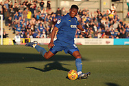 AFC Wimbledon defender Paul Kalambayi (30) passing the ball during the EFL Sky Bet League 1 match between AFC Wimbledon and Charlton Athletic at the Cherry Red Records Stadium, Kingston, England on 23 February 2019.