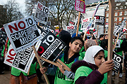 Stop Trump's Muslim ban demonstration on 4th February 2017 in front of the US Embassy in Grosvenor Square, London, United Kingdom. The protest was called on by Stop the War Coalition, Stand Up to Racism, Muslim Association of Britain, Muslim Engagement and Development, the Muslim Council of Britain, CND and Friends of Al-Aqsa. Thousands of demonstrators gathered to demonstrate against Trumps ban on Muslims, saying it must be opposed by all who are against racism and support basic human rights, and for Theresa May not to collude with him. Stop Trump's Muslim ban demonstration on 4th February 2017 in front of the US Embassy in Grosvenor Square, London, United Kingdom. The protest was called on by Stop the War Coalition, Stand Up to Racism, Muslim Association of Britain, Muslim Engagement and Development, the Muslim Council of Britain, CND and Friends of Al-Aqsa. Thousands of demonstrators gathered to demonstrate against Trumps ban on Muslims, saying it must be opposed by all who are against racism and support basic human rights, and for Theresa May not to collude with him. Young children wearing FOA Friends of Al Aqsa tabards carry placards saying No to scapegoating Muslimsphoto by Jenny Matthews/In Pictures via Getty Images