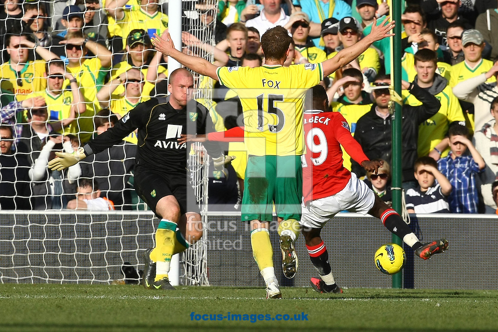 Picture by Paul Chesterton/Focus Images Ltd.  07904 640267.26/02/12.Danny Welbeck of Man Utd has a shot on goal during the Barclays Premier League match at Carrow Road Stadium, Norwich.
