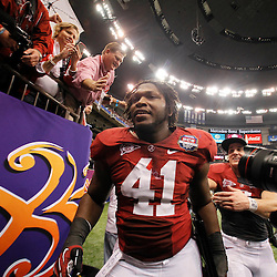 Jan 9, 2012; New Orleans, LA, USA; Alabama Crimson Tide linebacker Courtney Upshaw (41) walks off the field after defeating the LSU Tigers 21-0 in the 2012 BCS National Championship game at the Mercedes-Benz Superdome.  Mandatory Credit: Derick E. Hingle-US PRESSWIRE