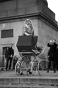 JONNY WOO, INTERCOURSE: Re-enacting Eisenstein: The Odessa Steps Sequence from Battleship Potemkin<br /> Jane and Louise Wilson directed the re-enactment on the steps outside the ICA. 26 November 2011.
