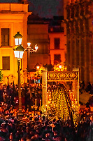 A paso (float) of the Virgin Mary in the procession of the Brotherhood (Hermandad) El Calvario, Holy Week (Semana Santa), Seville, Andalusia, Spain.