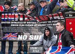 © Licensed to London News Pictures . 19/01/2013 . Manchester , UK . Loyalist protesters demonstrate outside Manchester Town Hall in the city's Albert Square , today (19th January 2013) . Photo credit : Joel Goodman/LNP