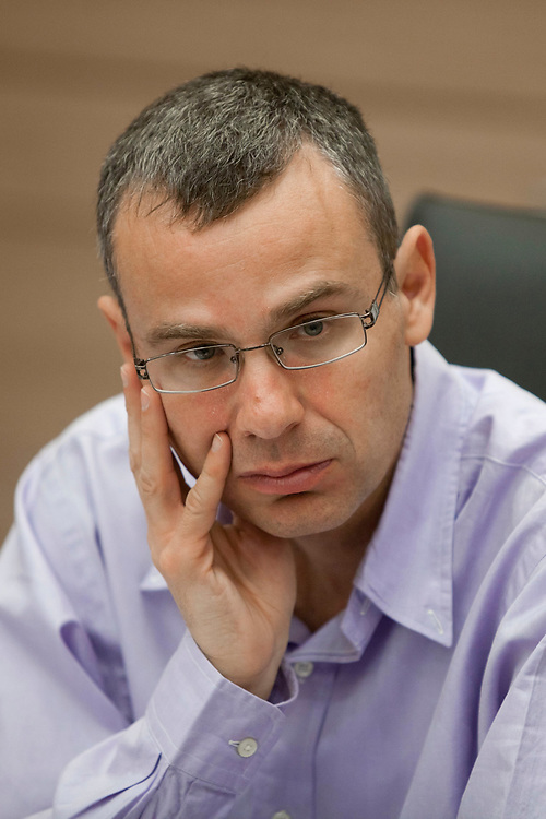 House Committee chairman, Knesset member Yariv Levin attends a session of the committee at the Knesset, Israel's parliament in Jerusalem, on December 21, 2011.
