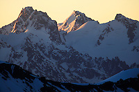 Russia, Caucasus, mountain pamorama just after sunrise, seen from Elbrus.