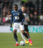 Blackburn Rovers Amari'i Bell in action with Derby County's Martyn Waghorn<br /> <br /> Photographer Mick Walker/CameraSport<br /> <br /> The EFL Sky Bet Championship - Derby County v Blackburn Rovers - Sunday 8th March 2020  - Pride Park - Derby<br /> <br /> World Copyright © 2020 CameraSport. All rights reserved. 43 Linden Ave. Countesthorpe. Leicester. England. LE8 5PG - Tel: +44 (0) 116 277 4147 - admin@camerasport.com - www.camerasport.com