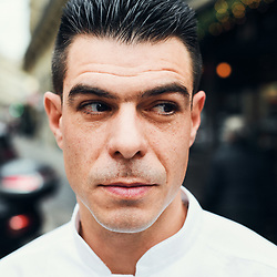 Chef Xavier Caussade posing in the street where Maison de la Truffe is located. Paris, France. Nov. 29, 2018. <br /> Le Chef Xavier Caussade prends la pose dans la rue ou est situe la Maison de la Truffe. Paris, France. 29 novembre 2018.