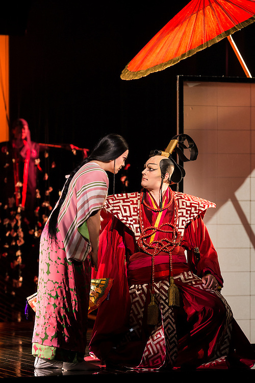 """LONDON, UK, 14 May, 2016. Rina Harms (left, as Butterfly) and Matthew Durkan (as Prince Yamadori) rehearse for the revival of director Anthony Minghella's production of Puccini's opera """"Madam Butterfly"""" at the London Coliseum for the English National Opera. The production opens on 16 May. Photo credit: Scott Rylander."""
