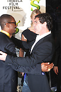 """21 April 2010- New York, NY- l to r: Eddie Murphy and Antonio Banderas at The World Premiere of Dreamwork Animation's """" Shrek Forever After """" for the Opening Night of the 2010 Tribeca Film Festival held at the Zeigfeld Theater on April 21, 2010 in New York City."""