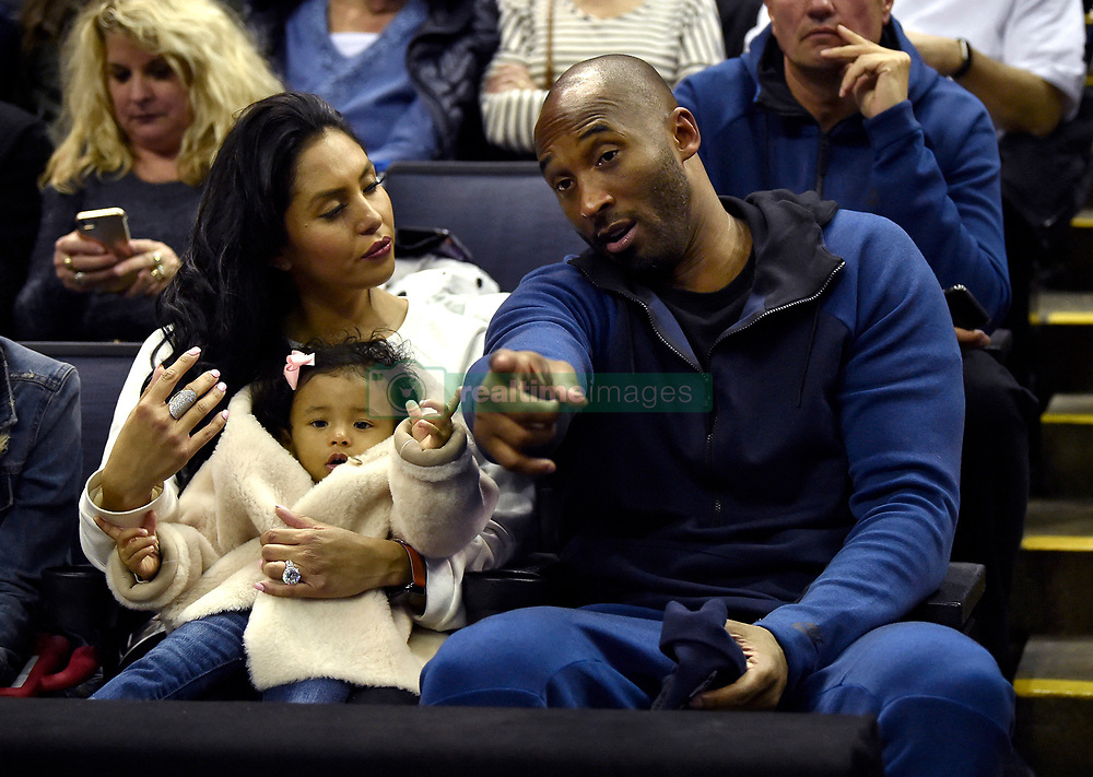 File photo dated March 30, 2018 of Kobe Bryant and his family prepare for the start of the UConn-Notre Dame NCAA Tournament national semifinal at Nationwide Arena in Columbus, Ohio, USA. Photo by Brad Horrigan/Hartford Courant/TNS/ABACAPRESS.COM