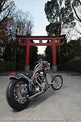 "Cherry's Company'sKaichiroh ""Kross"" Kurosu's custom 1949 Harley-Davidson Panhead photographed in front of a Torii Gate at a Shinto Shrine near the shop. Thursday December 7, 2017. Photography ©2017 Michael Lichter."