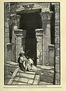 DOORWAY OF A SIDE CHAPEL OF THE TEMPLE OF EDFU [The Temple of Horus at Edfu]. After leaving this chapel the priestly procession ascended the winding stone staircase opposite, which conducts by a series of easy steps to the roof Wood engraving from 'Picturesque Palestine, Sinai and Egypt' by Wilson, Charles William, Sir, 1836-1905; Lane-Poole, Stanley, 1854-1931 Volume 4. Published in 1884 by J. S. Virtue and Co, London