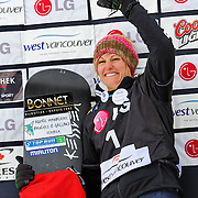 Olivia Nobs (SUI) celebrates her silver medal performance during the awards ceremony for the Ladies Snowboard-Cross event at the LG Snowboard World Cup held at Cypress Mountain, British Columbia on February 13th, 2009. Mandatory Photo Credit: Bella Faccie Sports Media\Thomas Di Nardo. Contact: Thomas Di Nardo, Snohomish, Washington, USA. Telephone 425-260-8467. e-mail: tom@bellafaccie.com
