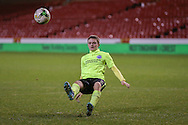 Brighton U18 Thomas Byrne  slips on the penalty spot and misses his kick during the FA Youth Cup match between U18 Nottingham Forest and U18 Brighton at the City Ground, Nottingham, England on 10 December 2015. Photo by Simon Davies.