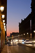 Rue de Rivoli, the busy street which runs beside the Louvre in the centre of Paris, France