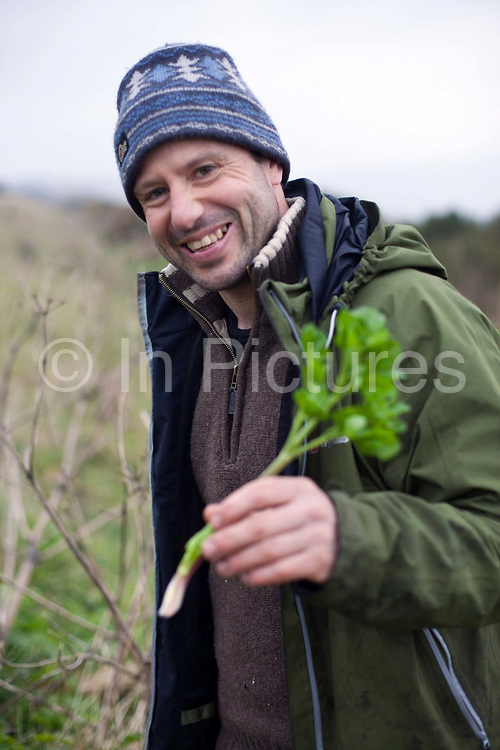 Fergus Drennan picks Cow Parsley at Bishopstone near Herne Bay, Kent, UK.Fergus Drennan , known as 'Fergus the Forager' is a chef, wild food experimentalist and educator.