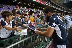 April 8, 2018 - Hong Kong, HONG KONG - Dannt Barrett (3) of the United States shown with fans during the 2018 Hong Kong Rugby Sevens at Hong Kong Stadium in Hong Kong. (Credit Image: © David McIntyre via ZUMA Wire)