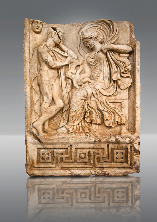 Photo of Roman releif sculpture of Aphrodite & Anchises from the Oda first room, Aphrodisias, Turkey, Images of Roman art bas releifs. Buy as stock or photo art prints. The trojan shepherd Anchises gazes at a seated Aphrodite, his lover for one night on Mount Ida. She hold a smalkl Eros in her lap : this is an erotic encounter. The head of Seine [ moon ] appears above the mountain in the top left of the scene. Aineas was the result of this union. .<br /> <br /> If you prefer to buy from our ALAMY STOCK LIBRARY page at https://www.alamy.com/portfolio/paul-williams-funkystock/greco-roman-sculptures.html . Type -    Aphrodisias     - into LOWER SEARCH WITHIN GALLERY box - Refine search by adding a subject, place, background colour, museum etc.<br /> <br /> Visit our ROMAN WORLD PHOTO COLLECTIONS for more photos to download or buy as wall art prints https://funkystock.photoshelter.com/gallery-collection/The-Romans-Art-Artefacts-Antiquities-Historic-Sites-Pictures-Images/C0000r2uLJJo9_s0