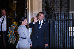 London, UK. 3 December, 2019. Zoran Zaev, Prime Minister of Republic of North Macedonia, arrives with his wife Zorica Zazeva for a reception for NATO leaders at 10 Downing Street on the eve of the military alliance's 70th anniversary summit at a luxury hotel near Watford.