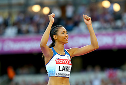 Great Britain's Morgan Lake celebrates as she competes in the Womens High Jump Final during day nine of the 2017 IAAF World Championships at the London Stadium. Picture date: Saturday August 12, 2017. See PA story ATHLETICS World. Photo credit should read: Martin Rickett/PA Wire. RESTRICTIONS: Editorial use only. No transmission of sound or moving images and no video simulation.