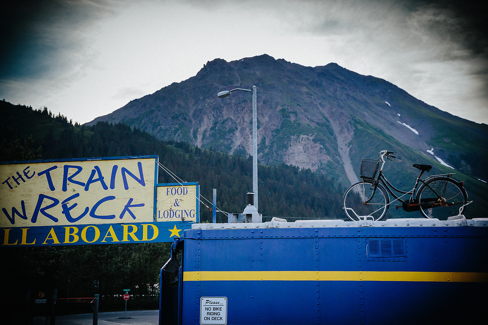 The exterior of the the Train Wreck and Seward Mountain Bike Shop in Seward, Alaska.