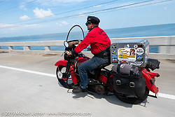Roger Green riding his 1937 Harley-Davidson ULH Flathead in the Cross Country Chase motorcycle endurance run from Sault Sainte Marie, MI to Key West, FL. (for vintage bikes from 1930-1948). Stage-10 covered 110 miles from Miami to the finish in Key West, FL USA. Sunday, September 15, 2019. Photography ©2019 Michael Lichter.