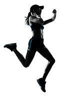 one  woman runner jogger in silhouette studio isolated on white background