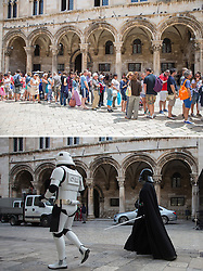 08.03.2016, Dubrovnik, CRO, Star Wars: Episode VIII, Drehort Dubrovnik, im Bild oberes Foto: Touristen in der Stadt - unteres Foto: Mitglieder der MOS Croatia Spaceport als Darth Vader und Sturmtruppen verkleidet in der Altstadt wo die Dreharbeiten zu Star Wars Episode VIII am 8. Mearz beginnen sollen und neune Tage andauern. // Tourists waiting in line to aboard cruiser ship, Bottom photo: 27.02.2016, Croatia, Dubrovnik - Members of the association of fans of Star Wars - Mos Croatia Spaceport dressed as a Stormtrooper and Darth Vader walked the old town where everything is ready to start filming Star Wars: Episode VIII. Filming will began on March 8 and will last for nine days.The set of the new Star Wars film is to be protected by drones to stop fans using their own flying gadgets to get a sneak peek of Episode VIII. Dubrovnik, Croatia on 2016/03/08. EXPA Pictures © 2016, PhotoCredit: EXPA/ Pixsell/ PIXSELL<br /> <br /> *****ATTENTION - for AUT, SLO, SUI, SWE, ITA, FRA only*****