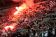 FC St.Gallen fans light flares before k/o. Europa league group A match, Swansea city v FC St. Gallen at the Liberty Stadium in Swansea, South Wales on Thursday 3rd October 2013. pic by Andrew Orchard , Andrew Orchard sports photography,