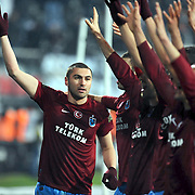 Trabzonspor's Burak YILMAZ celebrate victory during their Turkish Superleague Derby match Besiktas between Trabzonspor at the Inonu Stadium at Dolmabahce in Istanbul Turkey on Sunday, 06 March 2011. Photo by TURKPIX