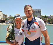 Seville. Andalusia. SPAIN. left, Women's Single Gold Medalist, CZE W1X, Mirka KNAPKOVA and Men's Single Sculls, Gold Medalist, CZE M1X. Ondrej SYNEK.  2013 FISA European Rowing Championship.  Guadalquivir River.  Sunday   02/06/2013  [Mandatory Credit. Peter Spurrier/Intersport]