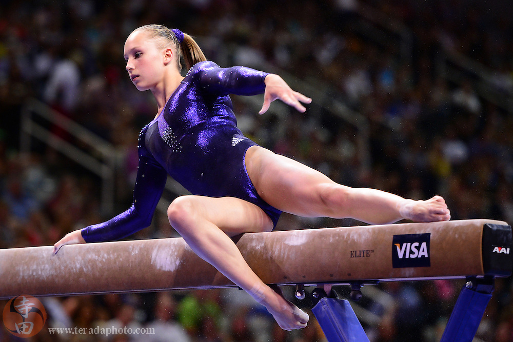 June 29, 2012; San Jose, CA, USA; Brenna Dowell performs on the balance beam during the 2012 USA Gymnastics Olympic Team Trials at HP Pavilion.