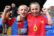 Young Crystal Palace fans, cheering before k/o. Premier League match, Crystal Palace v Stoke city at Selhurst Park in London on Sunday 18th Sept 2016. pic by John Patrick Fletcher, Andrew Orchard sports photography.