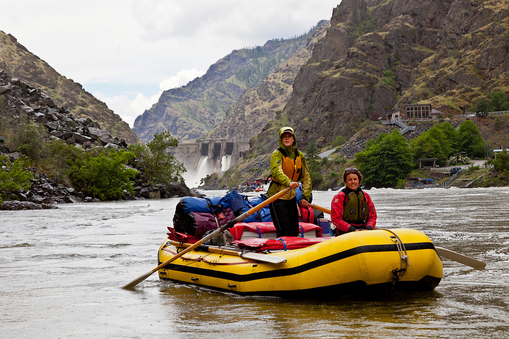 Rafting Guides begin Snake River adventure through Hells Canyon just below the put in and Hells Canyon Dam Spillway.  Open Edition Prints and Editorial License Only