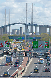 © Licensed to London News Pictures 30/04/2021. Dartford, UK. The A282 and Dartford crossing in Kent is already getting busy today. Motorists have been warned to expected delays on the road this May Bank holiday weekend as a total of 14 million getaway journeys are possible after a poll by the RAC. Saturday could be the busiest day on the roads in years due to coronavirus lockdown easing. Photo credit:Grant Falvey/LNP