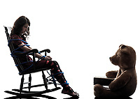 one  strange young woman and teddy bear storytelling in silhouette white background