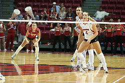 26 Aug 2005<br /> <br /> Redbirds take a formation to await the serve from the Illini.<br /> <br /> The Illini beat the Redbirds in the seasons opener for both team in 5 games 30-24, 30-19, 23-30, 30-21, 15-11.  Redbird Areana, Illinios State University, Normal, IL