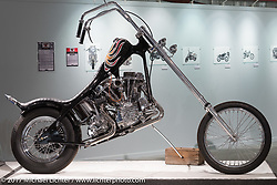 Johnny Branch's 1949 Harley-Davidson Panhead chopper based on an early plastic Revell Panhead chopper model in the Old Iron - Young Blood exhibition in the Motorcycles as Art gallery at the Buffalo Chip during the annual Sturgis Black Hills Motorcycle Rally. Sturgis, SD, USA. Wednesday August 9, 2017. Photography ©2017 Michael Lichter.