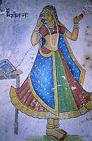 Inde - Rajasthan - Région du Shekawati - Mandawa - Peinture sur une boutique de Telephonie